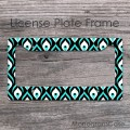 Design peacock pattern in green shades for car tag